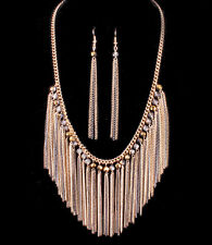 Gold and Silver Tone - Dangle Chain Necklace and Earring Set - N13M