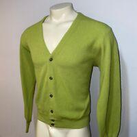 Vtg 50s 60s Rockabilly Sweater Green Mid Century Cardigan Kennedys MENS MEDIUM