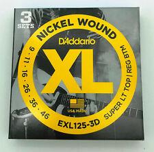 D'Addario Nickel Wound - 3 Set di  Corde Chitarra Elettrica EXL125-3D  009 - 046