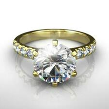 Certified 14 Kt Yellow Gold Womens Awesome Vvs1 D Round Diamond Ring 4 Carat