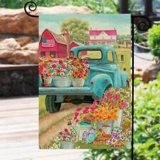 Spring Farm Truck Burlap Welcome Garden Flag Courtyard Banner Outdoor Decorative