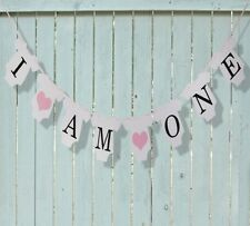 1ST BIRTHDAY I AM ONE BODYSUIT BANNER BUNTING GIRL PINK HEART