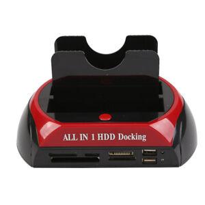 New 2.5″ 3.5″ Dual Hard Drive HDD Docking Station USB Dock Card Reader IDE SATA