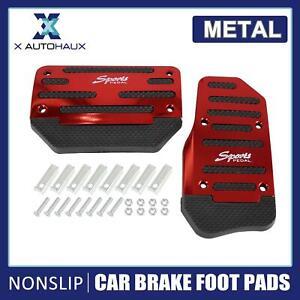 2pcs Metal Car Accelerator Brake Foot Pad Nonslip Pedals Treadle Cover Red Black