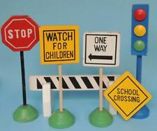 Lot of VINTAGE PLAYSKOOL Wooden Safety Truck ROAD SIGNS, One Way, TRAFFIC LIGHT