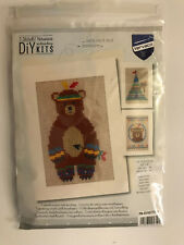 Vervaco DIY Kits INDIAN BEAR 3 Greeting Card Set w/ Envelopes Cross Stitch Kit