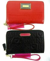 """8.5x5.5"""" Betsey Johnson Large Wallet Zip Around Red Black Quilted Heart Wristlet"""