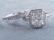 3.60Ct Radiant Cut Diamond Wedding Engagement Ring Set Certified 14K White Gold
