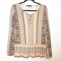 Rose and Olive Cream and Brown Boho Knit Top Womens Size Medium