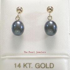 Raindrop Black Cultured Pearl Dangle Stud Earrings; 14k Yellow Solid Gold TPJ