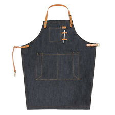 Pop Cafe Chef Apron Denim Bib Dress Barista Florist Barber Workwear With Pockets