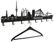 Wandgarderobe Hamburg Skyline - Flurgarderobe 80cm, Hakenleiste Garderobe Metall