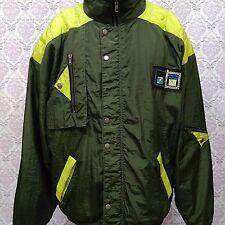 Vintage 80s Windbreaker Color Block Mens 44 Size L Green Nylon Jacket Full Zip