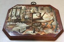 Anton Pieck Decoupage Art Print Wood Plaque Printing Shop