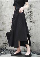 Asymmetric Drape Black Crepe Belted Skirt