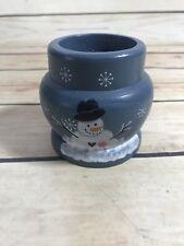 Blue Snowman Wood Candle Holder Base Home Decor Christmas Holiday Xmas
