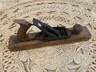 """Vintage Antique Wood Plane Woodworking Tool Iron w/ Wooden Base Marked """"B"""""""