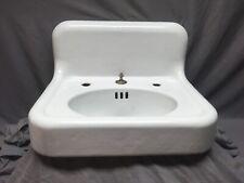 "Antique High Back 24"" Cast Iron White Porcelain Wall Mount Bath Sink Vtg 482-20E"