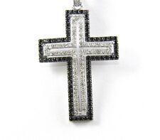 Genuine Black/White Diamond Cross Lady's Pendant w/Chain 14K White Gold 2.00Ct
