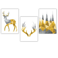 SET of 3 yellow GEOMETRIC Stag Deer Forest Wall Art Pictures Prints Poster