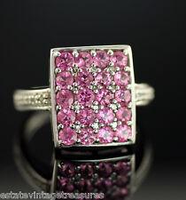 10k White Gold Pink Rubellite Tourmaline Diamond Cocktail Ring Size 6.75 New