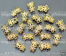 Nail Art Decoration Alloy Jewelry GOLD Glitter Flower Rhinestones #EA095
