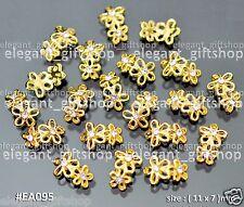 Nail Art Decoration Alloy Jewelry GOLD Glitter Flower Rhinestones #EA095