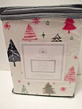 Modern Southern Home Red & Green Christmas Trees Twin Flannel Cotton Sheet Set