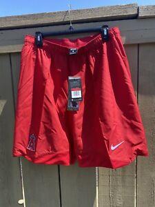 NWT Nike Los Angeles Anaheim Angels Dri-Fit Red Baseball MLB Shorts Size Large