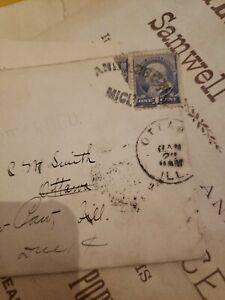 1800s Ben Franklin One Cent Blue U.S. Postage Stamp lot Michigan Opera Lot