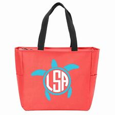 Turtle Monogrammed Zipper Tote - Many Colors Available