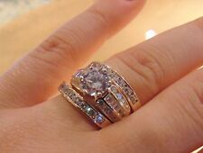 Engagement  Man Made 14K  Solid Yellow Gold diamond Ring 3 piece3.50 ct Round