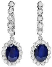 5.70Ct Natural Sapphire and Diamond 14K Solid White Gold Earrings