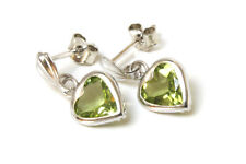 9ct White Gold Peridot Heart Dangly Drop Earrings Made in UK Gift Boxed