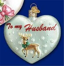 To My Husband Reindeer Old World Christmas Glass Valentine Heart Nwt 30049