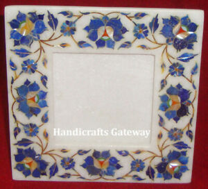 Gorgeous Inlay Marble Picture Frame, Decorative Marble Handmade Square Frame