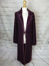 Purple cardigan coatigan long longline maxi 12 boucle wool blend boho folk chic