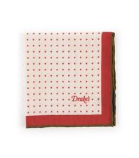 Drake's London Pocket Square Ecru Red Brown