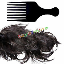 Antibacterial Black Plastic Afro Comb Style Lift Curly Hair Detangle