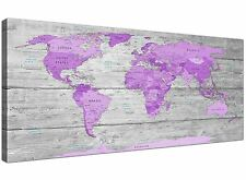 Large Purple and Grey Map of World Atlas Canvas Wall Art Print 120cm Wide - 1298