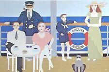 Vintage Family Cruise Shigeo Okumura OKU Art Deco Style Posted Post Card H085