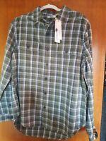 UGG Mens Medium Anders Flannel Shirt Plaid Olive Green Blue White NWT $95