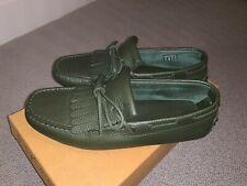 Tods Green Leather Loafer Size 5 With Box