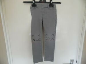 Girls Grey Cat Face Skinny Jeans with Adjustable Elasticated Waist size 3-4 Yrs