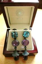 AMETHYST & BLUE TOPAZ SAPPHIRE 925 STERLING SILVER DESIGNER LONG DROP EARRINGS