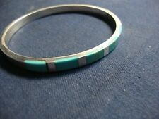 Silver Old Pawn Chunky Bracelet Mexico Turquoise Estate 925 Sterling