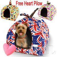 Washable Luxury Canvas Pet Igloo Dog Cat Bed House Kennel Doggy Cushion Basket