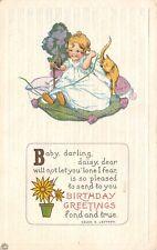 Helen E Jeffers~Baby on Telephone~Daisy Cat Vignette~Purple Lime~Series 421 A