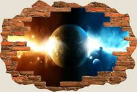 3D Hole in Wall Space Universe View Wall Stickers Film Decal Wallpaper Mural 878