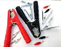 Crocodile Booster Cable Clips. Clamps. Battery Test Clips. Red. Black Test Leads